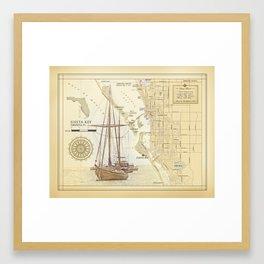 "Siesta Key ""vintage inspired"" artistic area map print Framed Art Print"