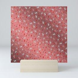 pink,silver,dollar, symbol in shiny metall textur Mini Art Print
