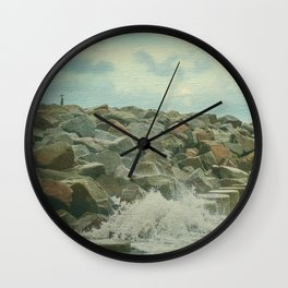 Saltwash on Seawall and Rocks Fort Fisher, NC Painterly Wall Clock