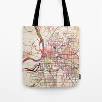 memphis Tote Bags featuring Memphis by MapMapMaps.Watercolors