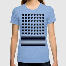 Heart Stripes Black on White T-shirt