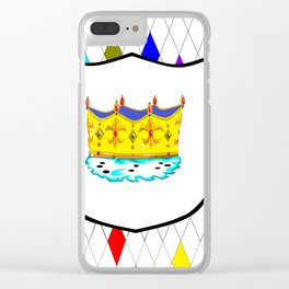 A Stained Glass Window with Shield and Crown Clear iPhone Case