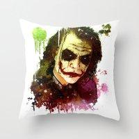 joker Throw Pillows featuring Joker by Sirenphotos