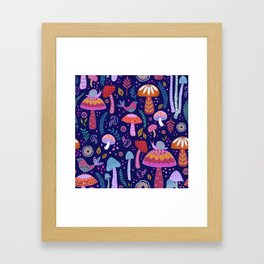 Magical Mushrooms on navy Framed Art Print
