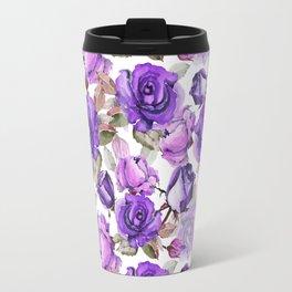 Violet lilac pink watercolor botanical roses floral Travel Mug