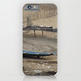Mekong Traditional Fishing Boat and Fishing Gear Laos iPhone Case
