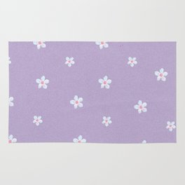 Modern lavender teal pink hand painted floral Rug