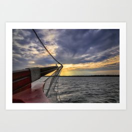Sunset off the Bow Art Print