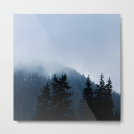 The Grouse Mountain in Fog Metal Print