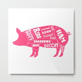Pork Butcher's Diagram Metal Print