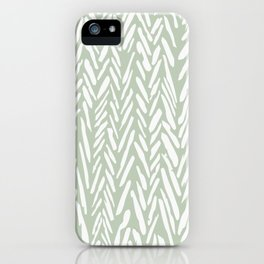 Light green herringbone pattern with cream stripes iPhone Case