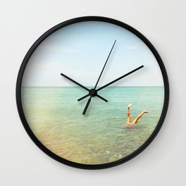 Turquoise Handstand Wall Clock