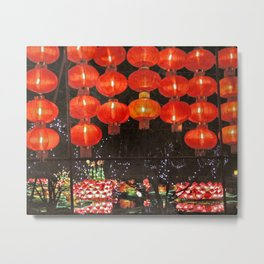 Red Chinese lanterns at night Metal Print