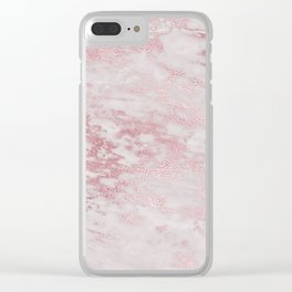 Rose Gold Blush Metal Veined Marble Clear iPhone Case
