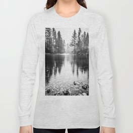 Forest Reflection Lake - Black and White  - Nature Photography Long Sleeve T-shirt