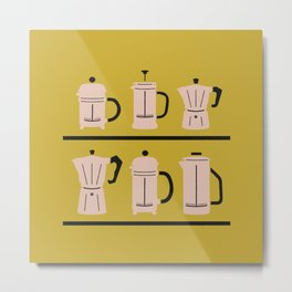 Volturno & French Press Coffee #6 mustard yellow & vintage pink Metal Print