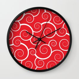 Spiral Waves (Red) Wall Clock