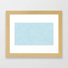 white hears with blue background Framed Art Print