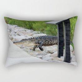 Alligator Coming Up For A Stroll Rectangular Pillow