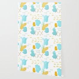 Summer blue yellow abstract Wallpaper