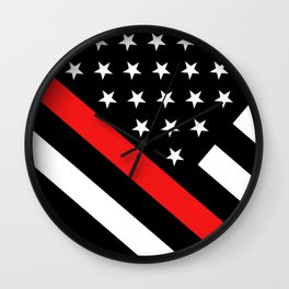 Firefighter: Black Flag & Red Line Wall Clock