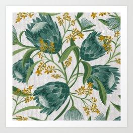 Sugarbush - Botanical Floral Pattern Flax Art Print