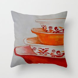 Friendship and Americana Vintage Orange Pyrex Throw Pillow