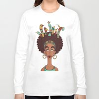 afro Long Sleeve T-shirts featuring Afro Birds by Beatrice Roberti