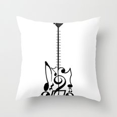 Guitar of Notes Throw Pillow