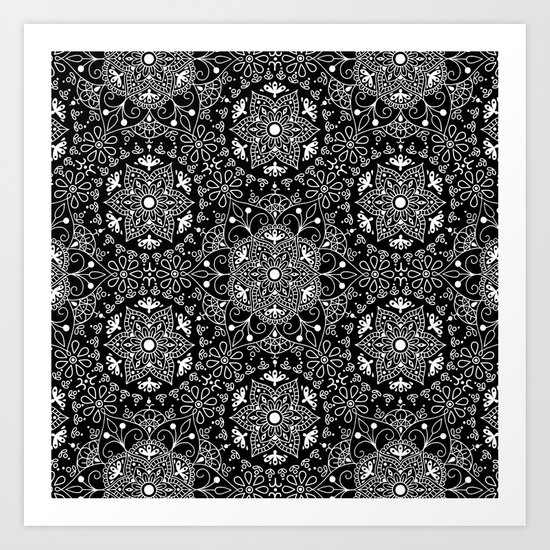 Mandala_Black and White Art Print