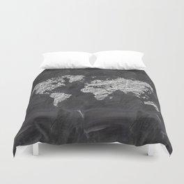 Scribble world map on chalkboard Duvet Cover