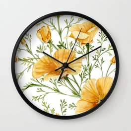 California Poppies - Watercolor Painting Wall Clock