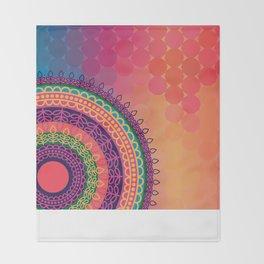 Ethnic Mandala on geometric pattern Throw Blanket