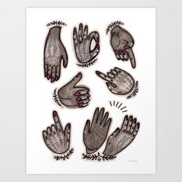 hand gestures and white henna tattoo Art Print