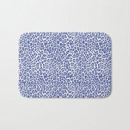 Blue Leopard Print Bath Mat