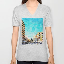 People on the street under the buildings of Agropoli Unisex V-Neck