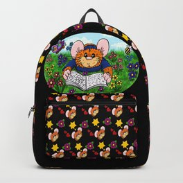 hammy reading in a meadow (black) Backpack