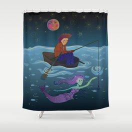 moon, fisherman and mermaid Shower Curtain