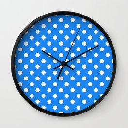 Small Polka Dots - White on Dodger Blue Wall Clock