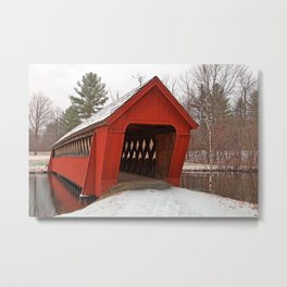Jack O'Lantern Snow Covered Bridge Metal Print