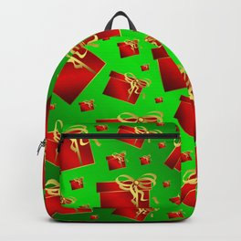 many little red gifts with golden bow on green Backpack
