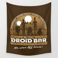 bar Wall Tapestries featuring Droid Bar by Doodle Dojo