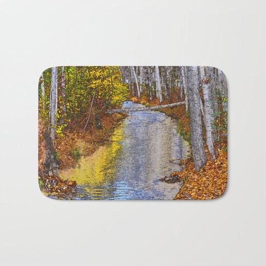 Autumn Stream - Watercolor Bath Mat