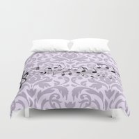music notes Duvet Covers featuring Damask Music Notes by Jessica Wray