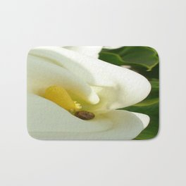 Beautiful Calla Flower On Green Natural Background Bath Mat