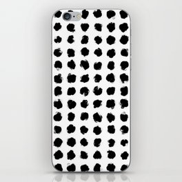 Black and White Minimal Minimalistic Polka Dots Brush Strokes Painting iPhone Skin