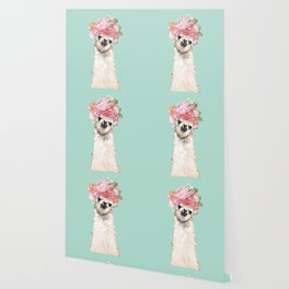 Llama with Flowers Crown #3 Wallpaper