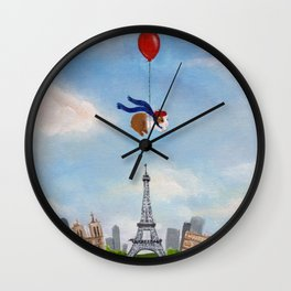 Guinea Pig With Balloon Over Paris, France Wall Clock