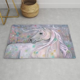 Twinkling Lights Unicorn Fantasy Watercolor Art by Molly Harrison Rug