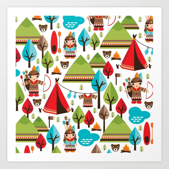 Cute indian haunting illustration pattern Art Print